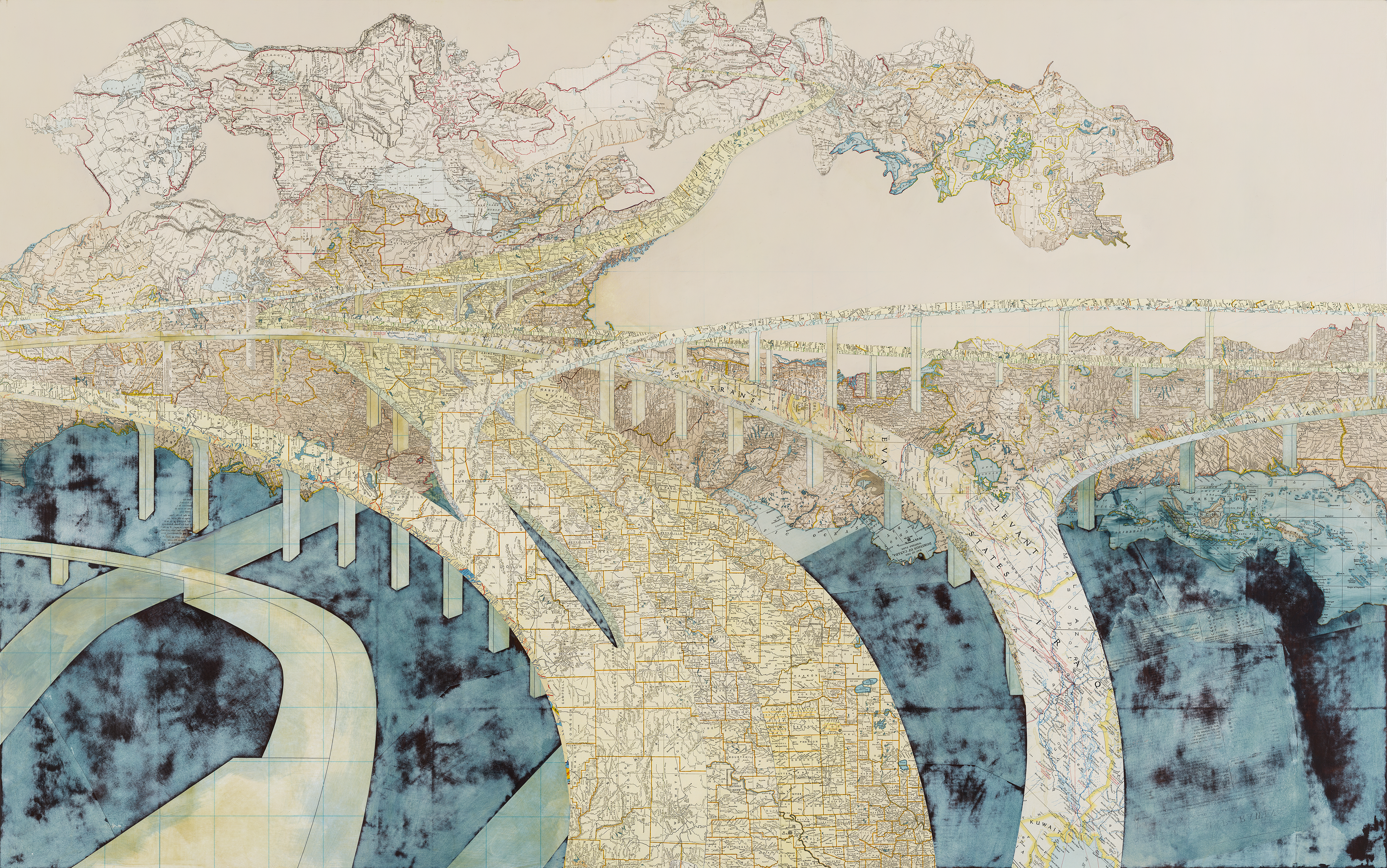Chasing the Dragon, 2006 Inlaid maps and acrylic on wood panel 40 x 64 inches