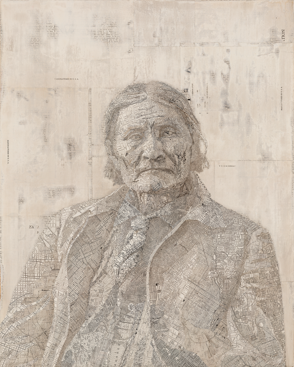 Geronimo, 2007 Inlaid maps on wood panel 30 x 24 inches
